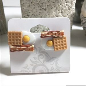 Bacon Eggs and Waffles Earrings